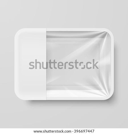 Raster version. Empty White Plastic Food Container with Empty Label on Gray - stock photo