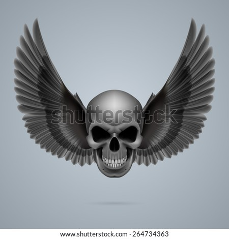 Raster version. Evil looking skull with two crow wings. - stock photo