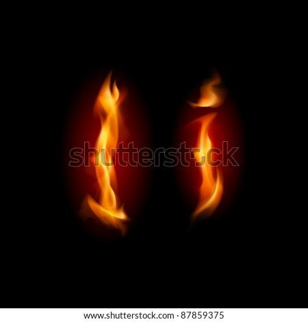 Raster version. Fiery font. Letter I. Illustration on black background - stock photo