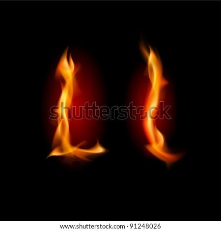 Raster version. Fiery font. Letter L. Illustration on black background - stock photo