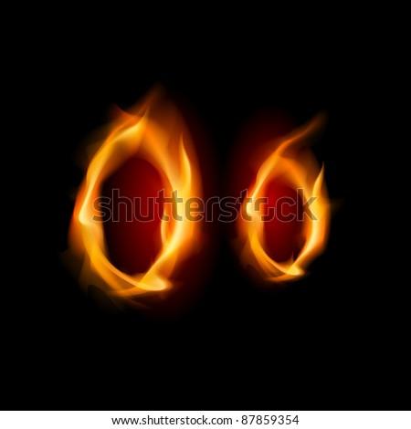 Raster version. Fiery font. Letter O. Illustration on black background - stock photo
