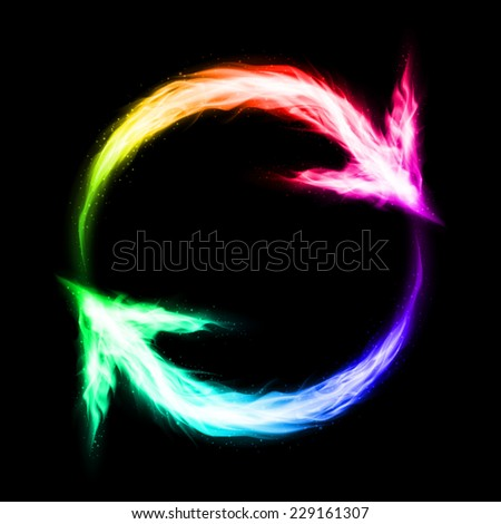 Raster version. Fire circular arrows in spectrum colors on black background  - stock photo