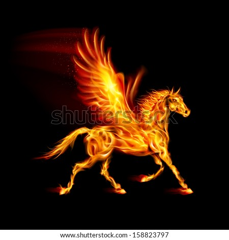 Raster version. Fire Pegasus in motion on black background. - stock photo