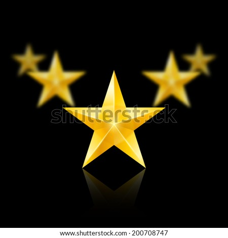 Raster version. Five gold stars on black background - the first one in focus, the others blurry. - stock photo