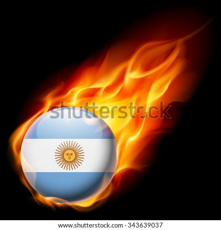 Raster version. Flag of Argentina as round glossy icon burning in flame - stock photo