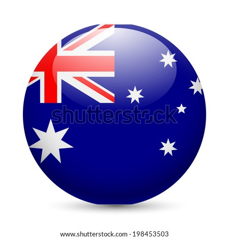 Raster version. Flag of Australia as round glossy icon. Button with Australian flag - stock photo