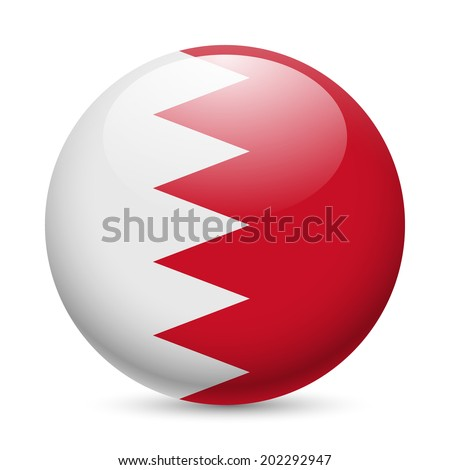 Raster version. Flag of Bahrain as round glossy icon. Button with Bahraini flag - stock photo