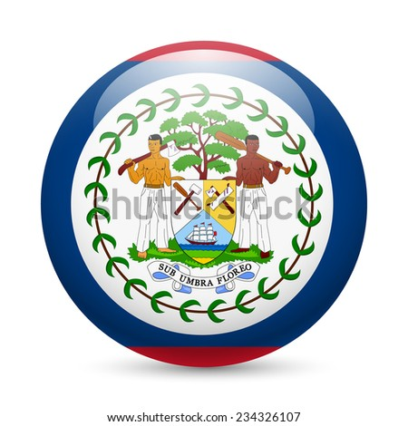 Raster version. Flag of Belize as round glossy icon. Button with Belizean flag  - stock photo