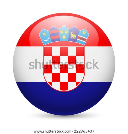 Raster version. Flag of Croatia as round glossy icon. Button with Croatian flag  - stock photo
