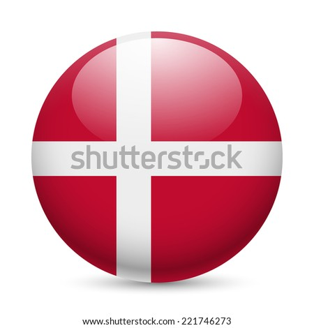Raster version. Flag of Denmark as round glossy icon. Button with Danish flag  - stock photo