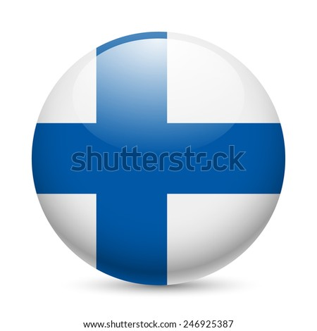 Raster version. Flag of Finland as round glossy icon. Button with Finland flag  - stock photo