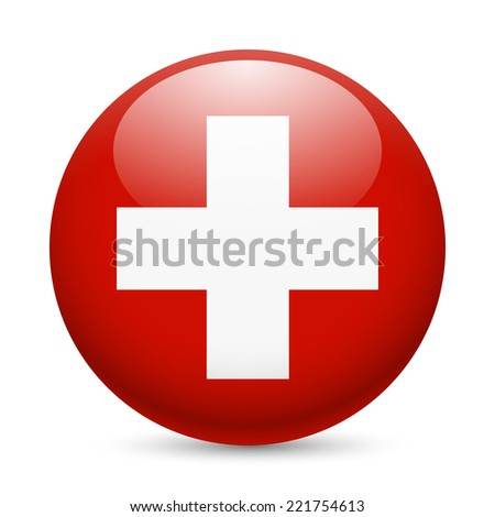 Raster version. Flag of Switzerland as round glossy icon. Button with Swiss flag  - stock photo