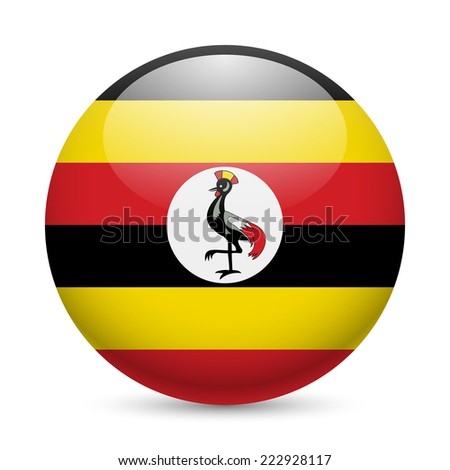 Raster version. Flag of Uganda as round glossy icon. Button with Ugandan flag  - stock photo