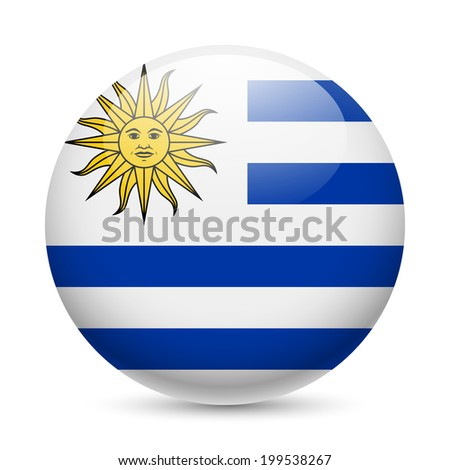 Raster version. Flag of Uruguay as round glossy icon. Button with Uruguayan flag - stock photo