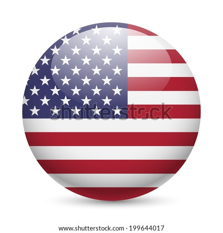 Raster version. Flag of USA as round glossy icon. Button with American flag - stock photo