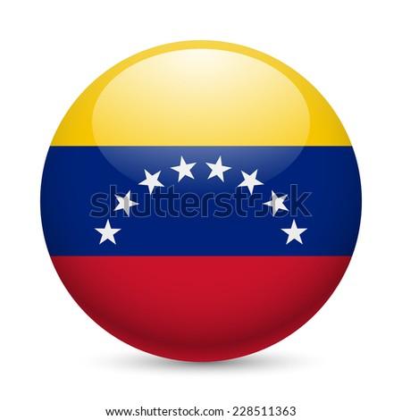 Raster version. Flag of  Venezuela as round glossy icon. Button with Venezuelan flag  - stock photo