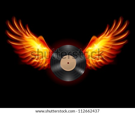 Raster version. Flying Vinyl LP record, on wings of fire - stock photo