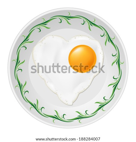 Raster version. Fried eggs in heart shape in white plate with green floral pattern - stock photo