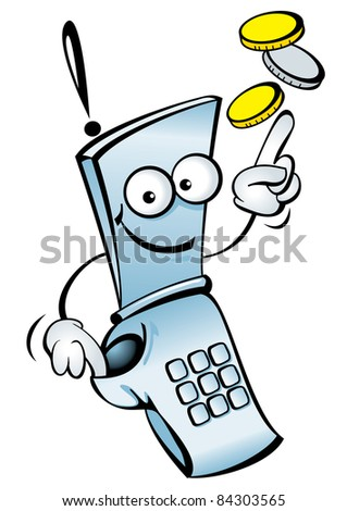 Raster version. Funny  mobile telephone, with your money. - stock photo