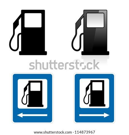 Raster version. Gas Station sign. Illustration on white background - stock photo