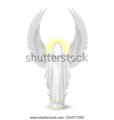 Raster version. Gods guardian angel in white. Archangels image. Religious concept  - stock photo
