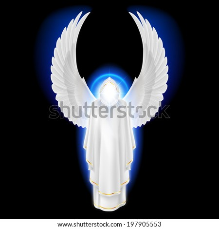 Raster version. Gods guardian angel in white dress with blue radiance on black background. Archangels image. Religious concept - stock photo