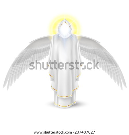 Raster version. Gods guardian angel in white with wings down. Archangels image. Religious concept  - stock photo