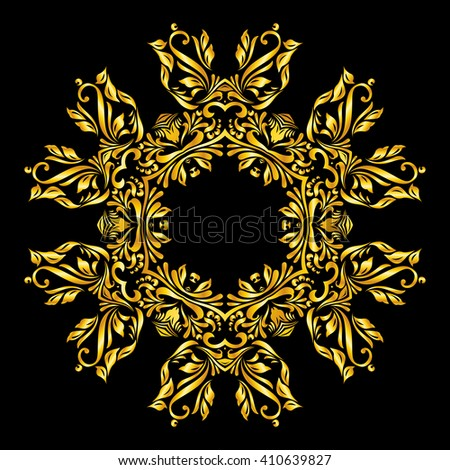 Raster version. gold element similar a beaty flower on black background - stock photo