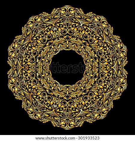 Raster version. Gold element similar a collar on black background - stock photo