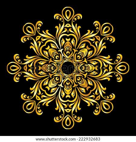 Raster version. gold element similar a snowflake on black background  - stock photo