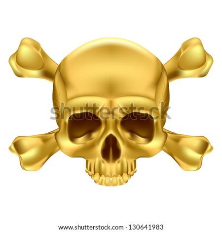 Raster version. Gold Skull and Crossbones. Illustration on white background - stock photo