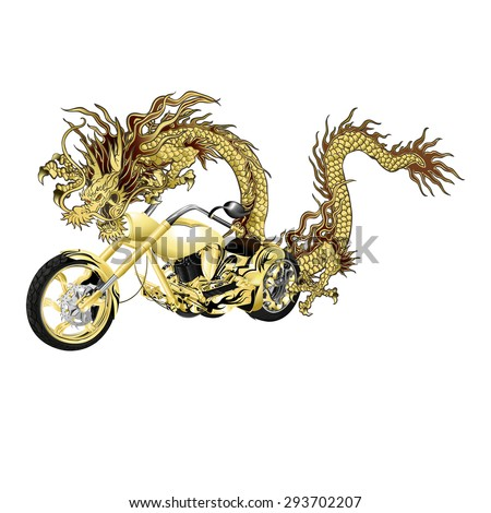 Raster version golden Chinese dragon with a motorcycle, wraps golden chopper - stock photo