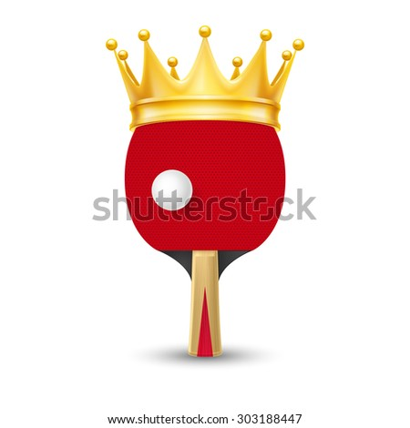 Raster version. Golden crown on tennis racket isolated on white background