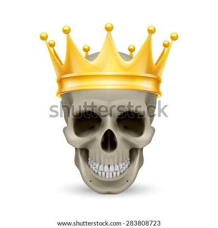 Raster version. Golden crown on the skull, isolated on white - stock photo
