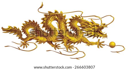 Raster version / Golden Dragon moving horizontally on a white background - stock photo