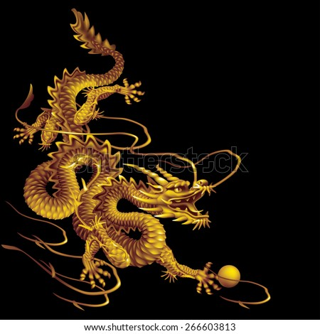 Raster version / Golden Dragon running down diagonally on a black background - stock photo