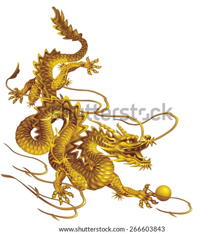Raster version / Golden Dragon running down diagonally on a white background - stock photo