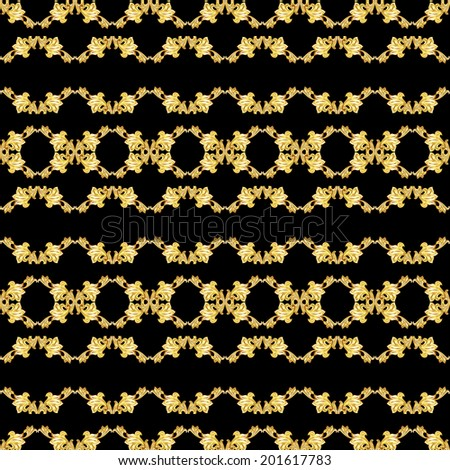 Raster version. Gorizontal seamless gold floral pattern on black background - stock photo
