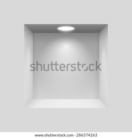 Raster version. Gray niche for presentations with illuminated  light lamp  - stock photo
