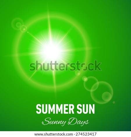 Raster version. Green summer background with glaring sun and lens flare