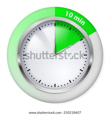 Raster version. Green Timer icon. Ten minutes. Illustration on white.  - stock photo