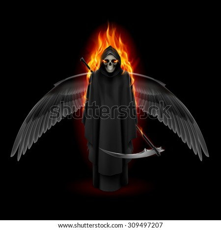 Raster version. Grim Reaper with wings and orange flame - stock photo