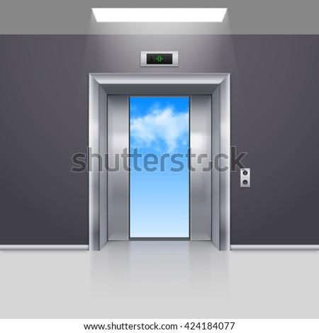 Raster version. Half Open Metal Elevator Door to the Blue Sky - stock photo