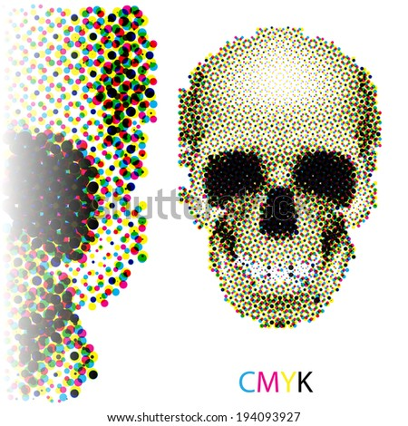 Raster version. Halftone skull image in CMYK colors on white background - stock photo