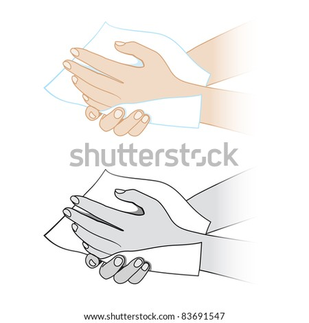 Raster version. Hands with a napkin. Illustration on white background - stock photo