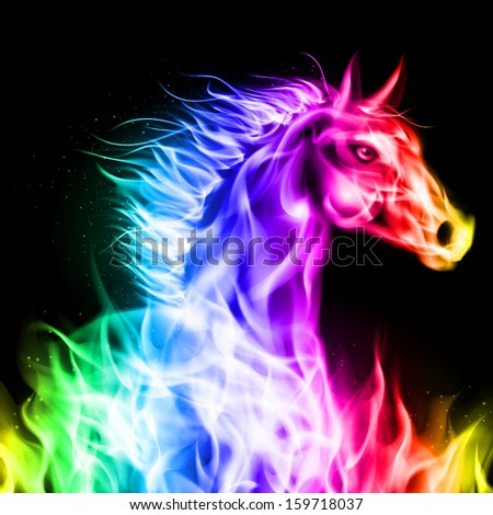 Raster version. Head of fire horse in spectrum colors on black background. - stock photo