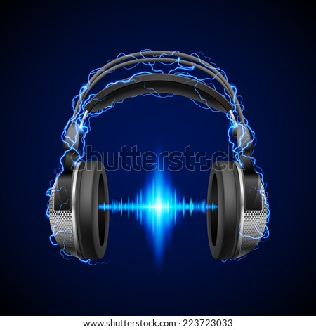 Raster version. Headphones in blue flashes and lighting with luminous equalizer line  - stock photo