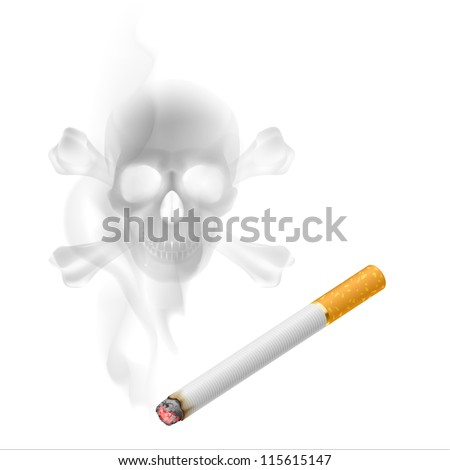 Raster version. Human scull appears in Cigarette Smoke on white - stock photo