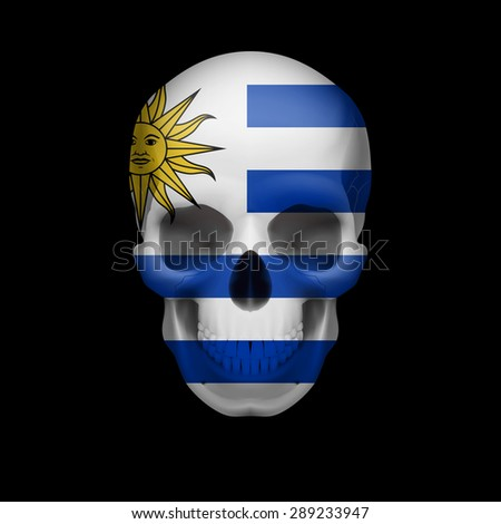Raster version. Human skull with flag of Uruguay. Threat to national security, war or dying out  - stock photo