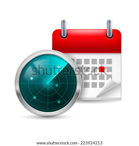 Raster version. Icon of radar screen and calendar with marked day  - stock photo